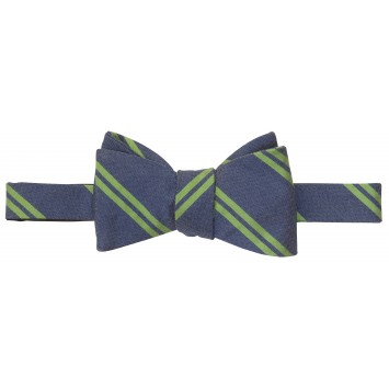 Double Stripe Bar Bow: Navy and Green